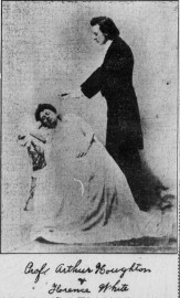 Stage hypnotist Arthur D. Houghton, with subject, 1890s