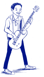 Rocky playing guitar - illustration