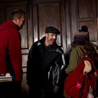 Dominic Monaghan having fun on set.