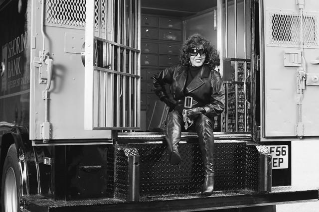 Joan Collins on set